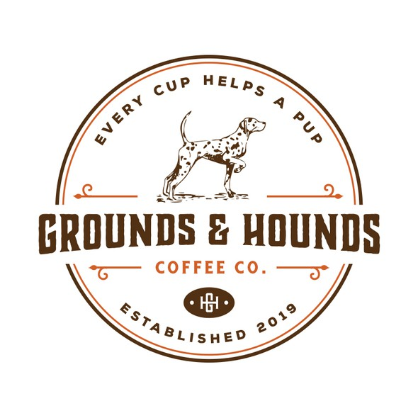 Hound logo with the title 'Grounds & Hounds Coffee Co.'