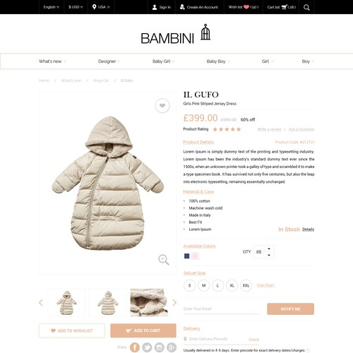 Clothing website with the title 'Product detail page design - shopify - children clothing'