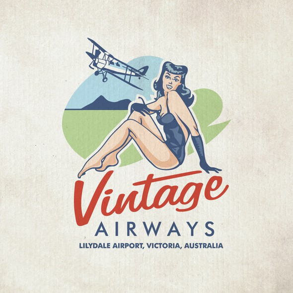 Flying club logo with the title 'Vintage logo design'