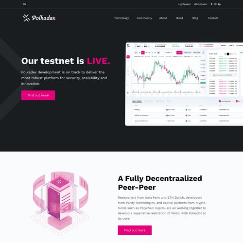 Cryptocurrency design with the title 'Polkadex - Network Technology '