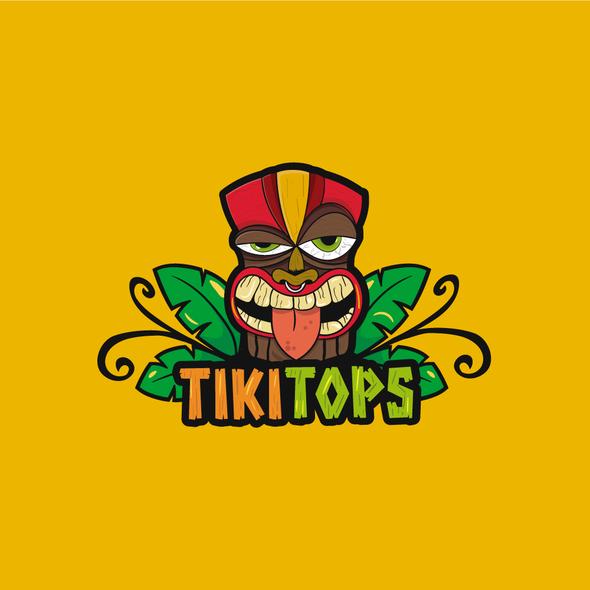 Beach bar logo with the title 'Tiki Logo'