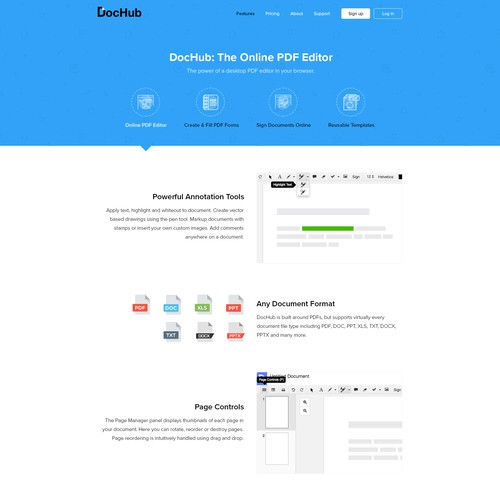 SaaS design with the title 'Features page - Online PDF Editor'