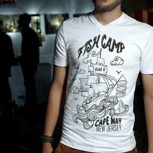 Boat t-shirt with the title 'Fisherman Apparel Shirt Design'
