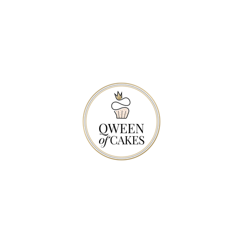 Cake logo with the title 'Elegant logo concept for Qween of Cakes'