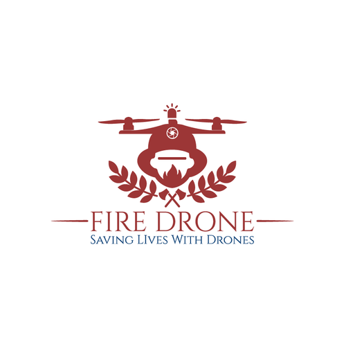 Firefighter logo with the title 'Fire Drone Logo'