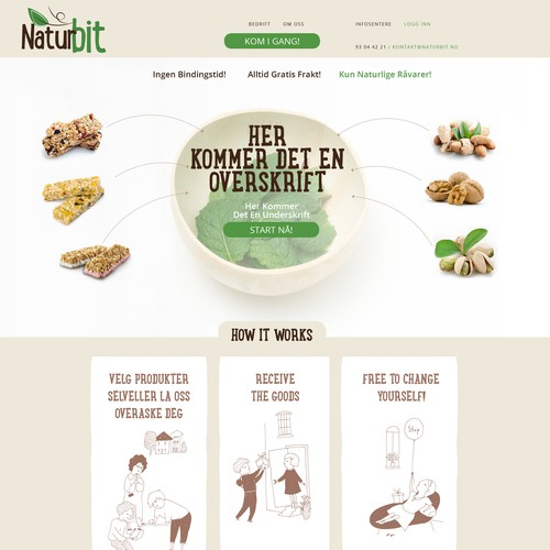 Natural website with the title 'Web page design & illustrations for Naturbit'