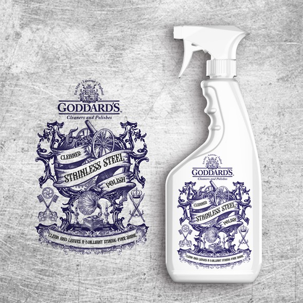 Spray bottle design with the title 'Labels of a 190 Year Old Legacy'