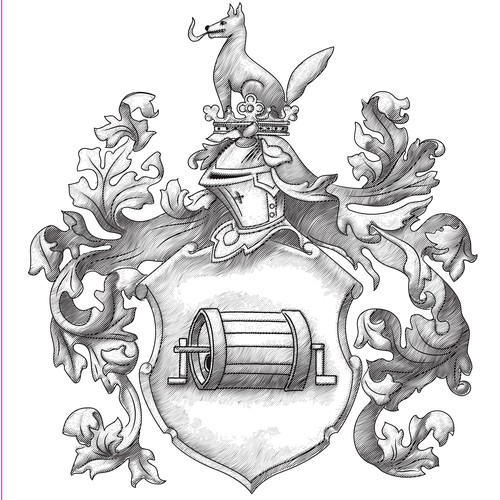 Coat of arms design with the title 'Family coat of arms - engraving'