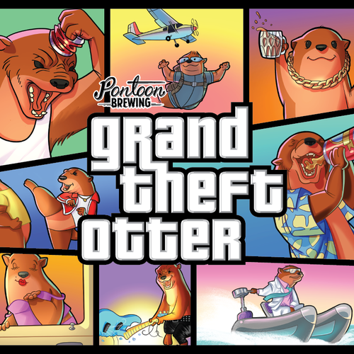 Video game design with the title 'Grand Theft Otter beer label'