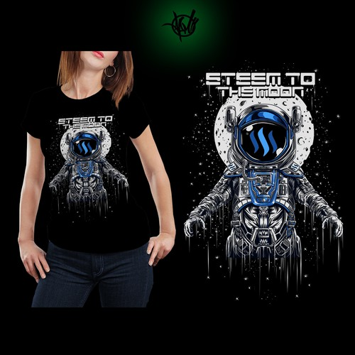 "Astronaut t-shirt with the title 'ASTRONAUT ""STEEM TO THE MOON""'"