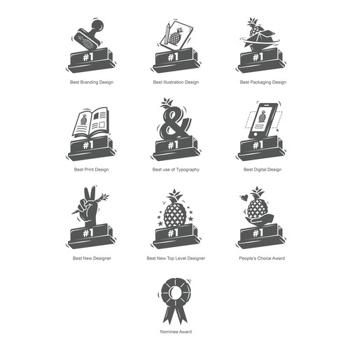 Pineapple design with the title 'Icon set for the most prestigious awarding event of 99designs '