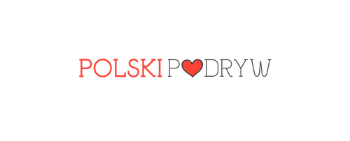 Gray and red logo with the title 'Create a logo for Polski Podryw'