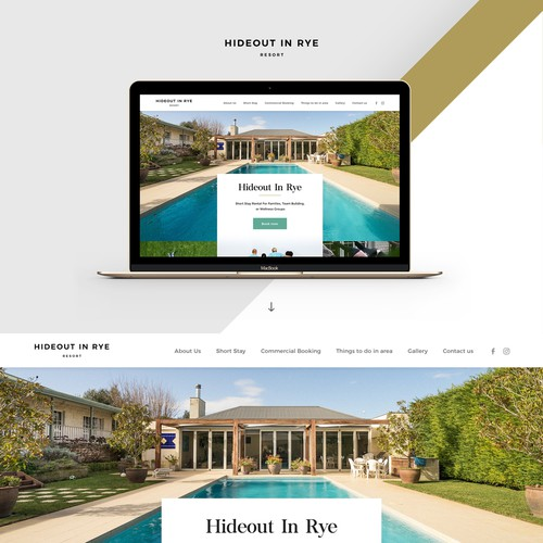 Interior design website with the title 'Website For Stylish Holiday Rental'