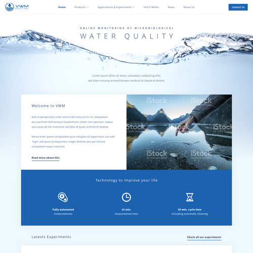 Water website with the title 'Website for a Water Company'