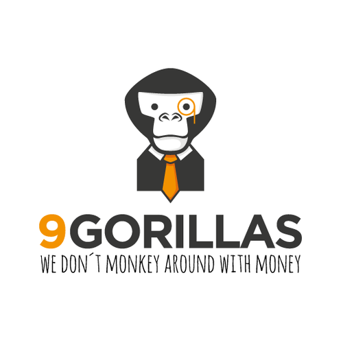 Green and grey logo with the title 'Gorilla in a Financial Logo'