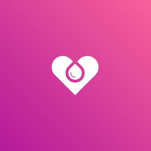 Hemp oil logo with the title 'heart + water drop'