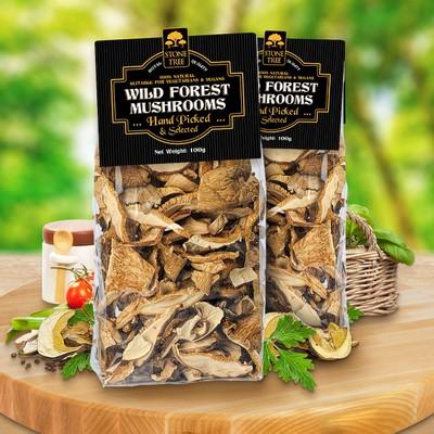 Label design for Wild Forest Mushrooms