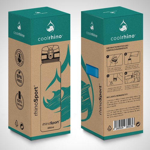 Cardboard packaging with the title 'Package and Logo design'