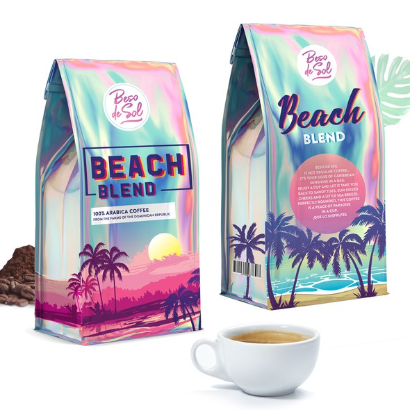 Holographic design with the title 'Holographic Coffeae packaging design'