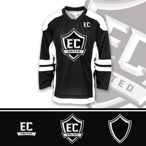 Ice hockey design with the title 'Logo EC UNITED'