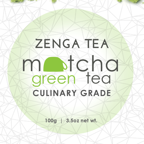 Green tea label with the title 'Create beautiful product labels for Zenga Tea'