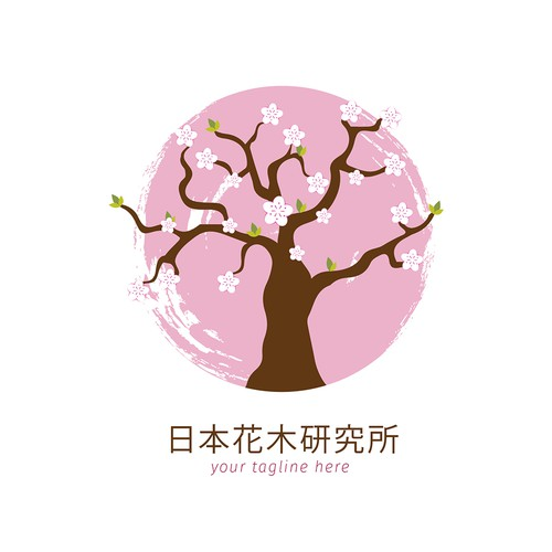 Cherry blossom design with the title 'Beauty design for Japanese Floral'