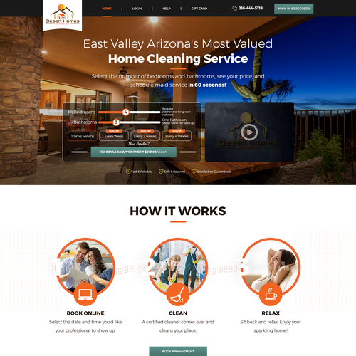 Cleaning design with the title 'Website design for  deserthomescleaning.com '
