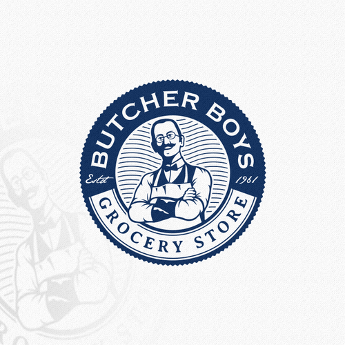 Old-fashioned design with the title 'Old fashioned logo for The Butcher Boys, grocery store'