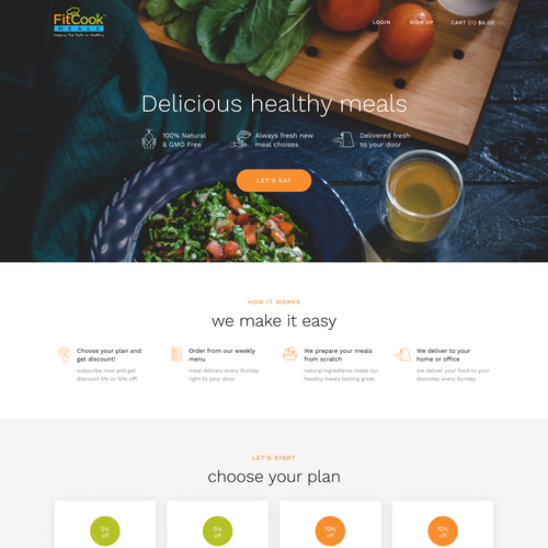 Service website with the title 'FitCook Meals'