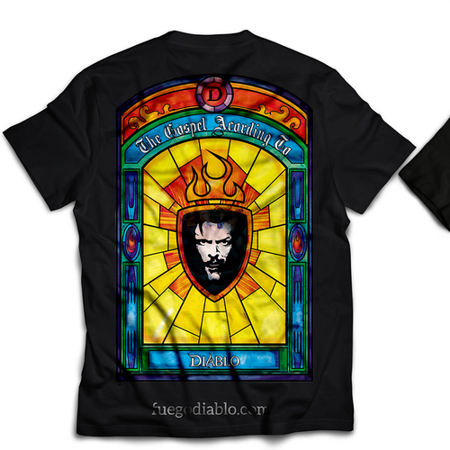 Stained glass design with the title 'Stain Glass T-shirt'