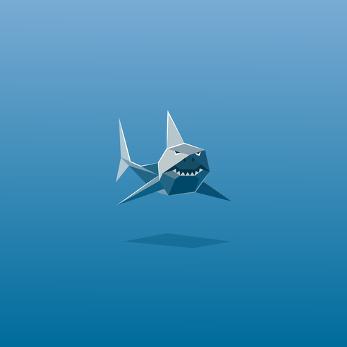 Shark logo with the title 'Low Poly Shark'