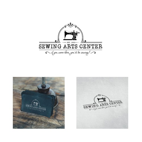 Sewing machine logo with the title 'Vintage logo design'