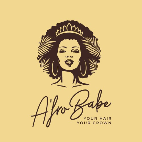 Hair extension logo with the title 'Afro Babe'