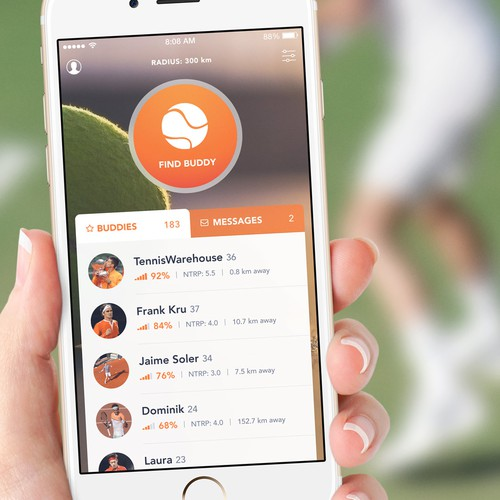 Tennis design with the title 'Social Network for Tennis Players App Concept'