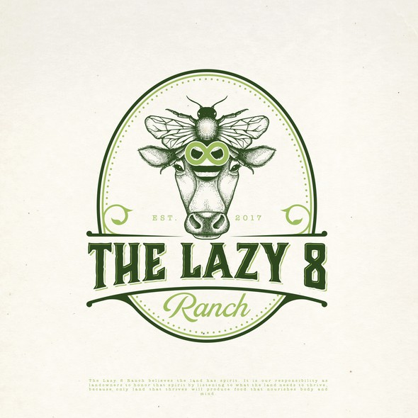 Cow logo with the title 'THE LAZY 8 RANCH LOGO DESIGN'