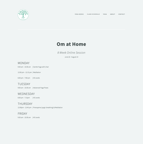 HTML website with the title 'Simple Website Design for Yoga Studio'
