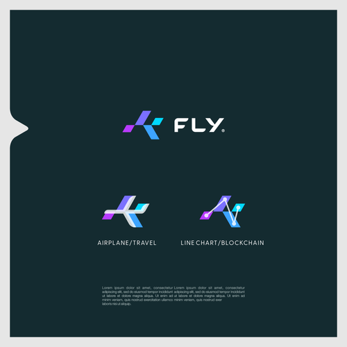 Crypto brand with the title 'Logo concept for blockchain company specializing in travel'