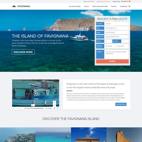 Hotel website with the title 'Website design for Favignana'
