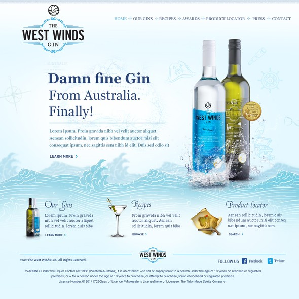 Australia website with the title 'The West Winds Gin needs a new website design'