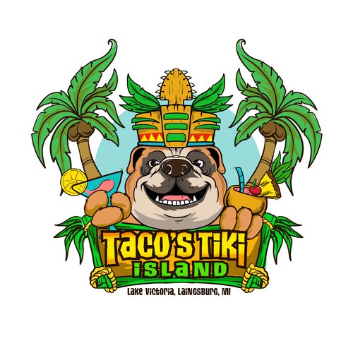 Polynesian logo with the title 'Bulldog tiki cafe'