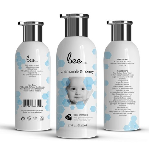 Shampoo packaging with the title 'Baby Shampoo'