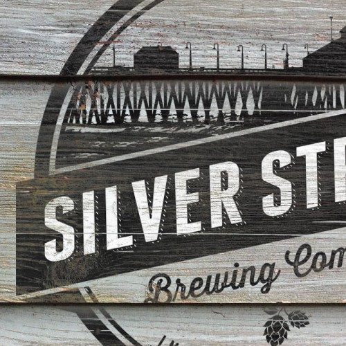 Rustic-modern design with the title 'Create an amazing brand identity for Silver Strand Brewing Company in Imperial Beach, CA.'