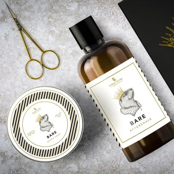 Elegant label with the title 'Crowned Otter for Bare Aftershave and Shave soap'
