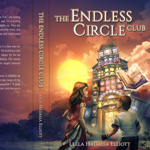 "Boy design with the title 'Book cover design for a children's fantasy adventure book titled, ""The Endless Circle Club"" by Leela Hadassa Elliott. '"