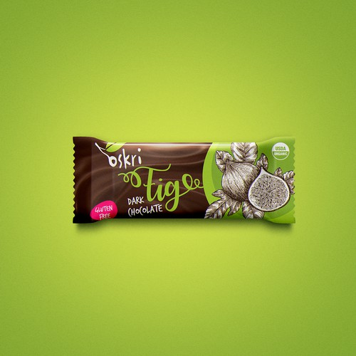 Gluten-free label with the title 'Delicious Chocolate Bar'