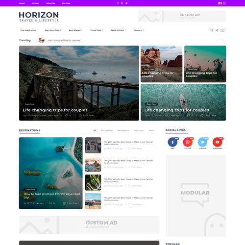Appealing design with the title 'Horizon web design competition'