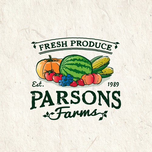 Produce logo with the title 'Vintage styled logo for Parsons Farms Produce'