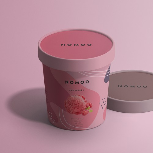 Mango design with the title 'Packaging raspberry and mango ice cream'
