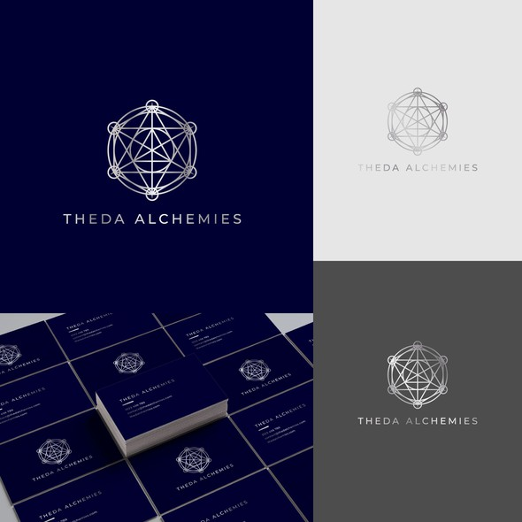 Sacred geometry design with the title 'Theda Alchemies Sacred Geometry Inspired Logo Design'