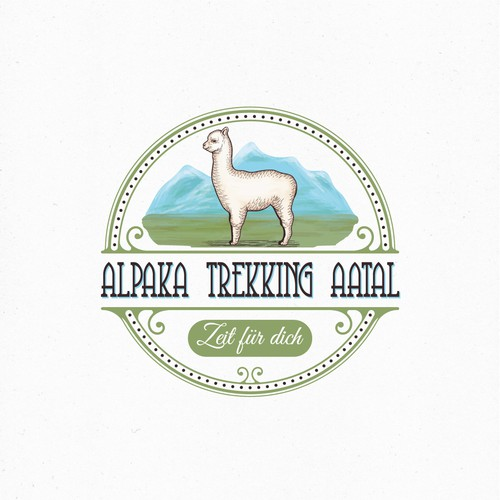 Hand-painted logo with the title 'Logo for a company that does trekking with alpacas'